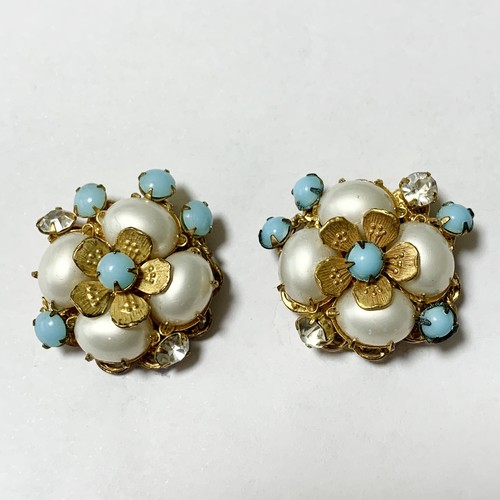 Vintage DeMario Faux Pearl & Faux Turquoise Floral Earrings