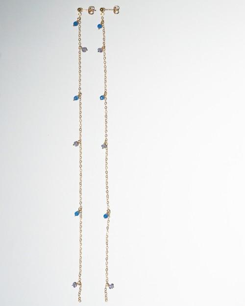 Possibility long pierced earring - blue x purple