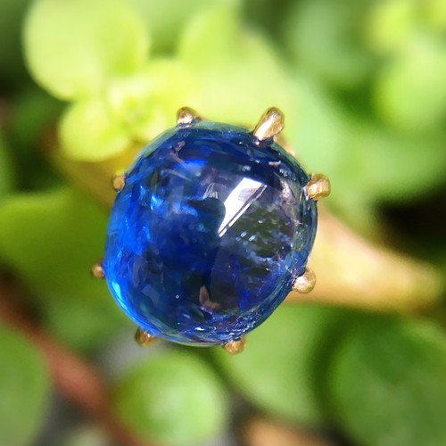 Cabochon Sapphire Solitaire Ring