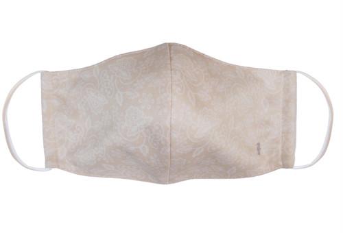 ファッション マスク レースプリント ベージュ 立体マスク