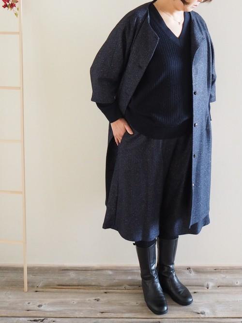 コートワンピ シルク混ウール ネップ 紺