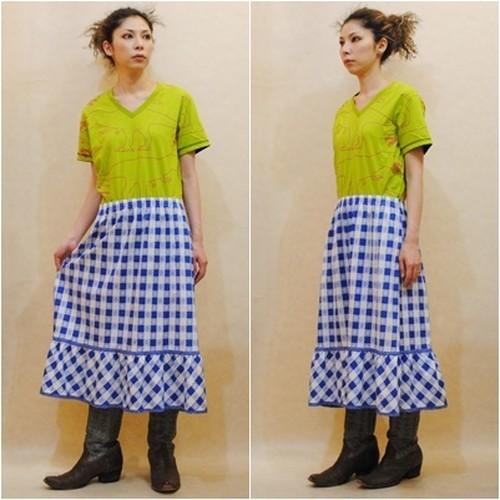 S~XLサイズ【アメリカ製古着】1970年代ヴィンテージ◆ブルーとホワイトのチェック◆ミディ丈スカート