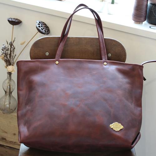 Zip Tote Bag / RED BROWN