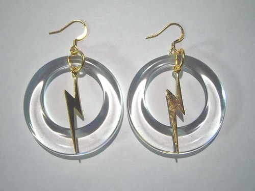 Circle thunder pierced earring