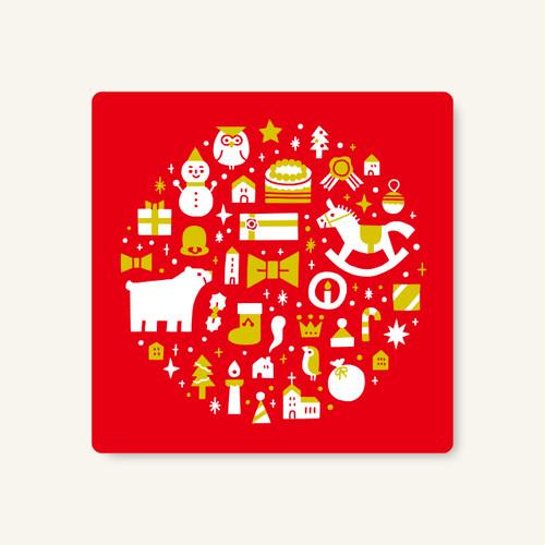 正方形メッセージカード クリスマス(レッド)(10枚入り)