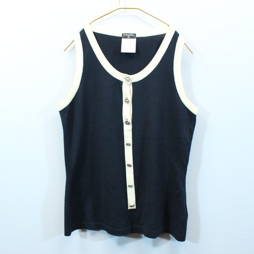 .CHANEL 08P CASHMERE BREND COCO MARC TANK TOP MADE IN FRANCE/シャネルカシミヤ混ココマークタンクトップ 2000000031934