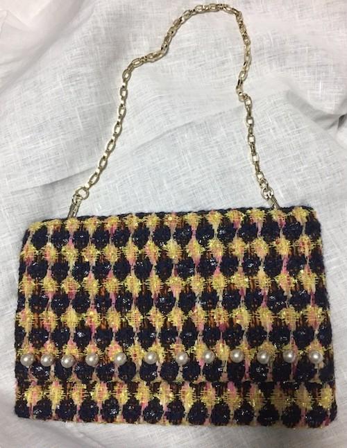 nd-1151/02  wool tweeds pearl cluch bag