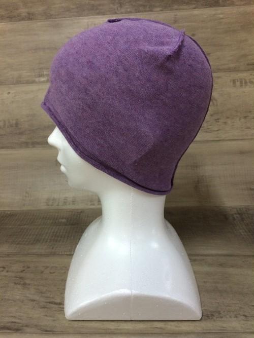 【送料無料】こころが軽くなるニット帽子amuamu 新潟の老舗ニットメーカーが考案した抗がん治療中の脱毛ストレスを軽減する機能性と豊富なデザイン NB-6057 紫芋 <オーガニックコットン インナー>