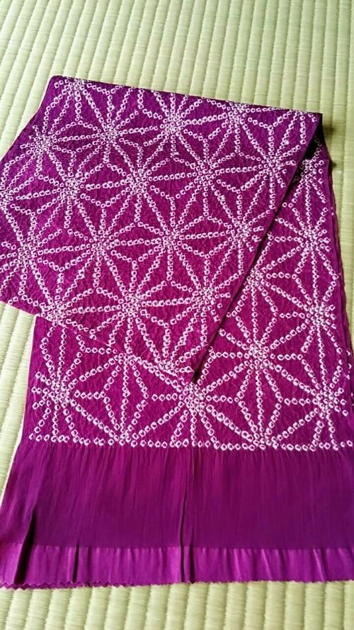 帯揚げ 絞り麻の葉 紫色