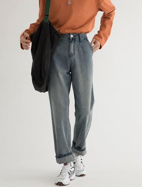 メンズデニムパンツ。レギュラータイプブラック/ブルー2カラー