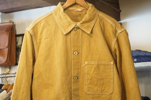 "unknown ocher-color cotton work Jacket ""piece-dyed"""