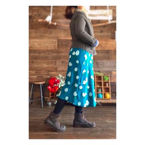【フレアスカート】tulip/ターコイズ/original textile