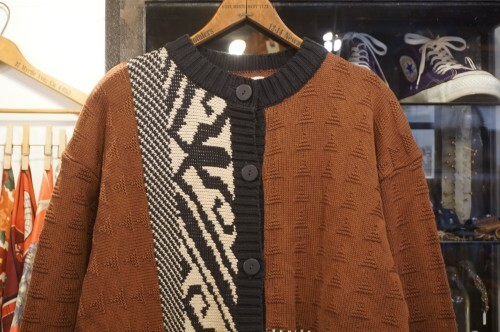 80's asymmetry patterned cotton knit Cardigan