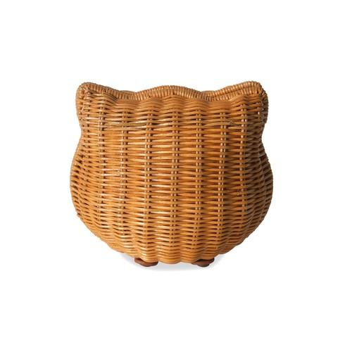 IUHA 可愛いねこ 猫 キティモチーフ 籐 かごバッグ (S) ショルダー付 クラッチバッグ ポーチ お財布 小物収納 ラタン 天然素材 夏バッグ 浴衣 リゾート   iuhalztc171002