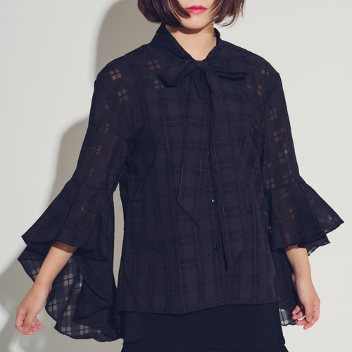 Ruffle Bell Sleeve Stitch Tartan Black
