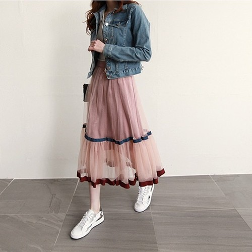 ♡pink lace korean skirts 2895