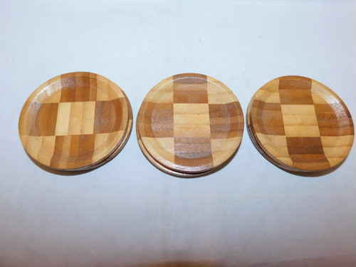 市松コースター(6客) wooden Japanese tea six saucers(No29)