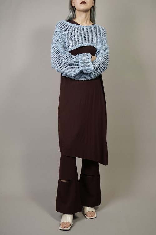 SEE-THROUGH  CROPPED KNIT TOPS (SAX) 2105-51-27