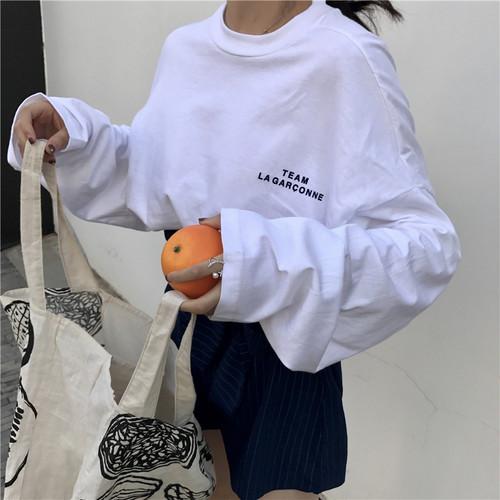【トップス】アルファベットラウンドネックプルオーバー長袖シンプルTシャツ