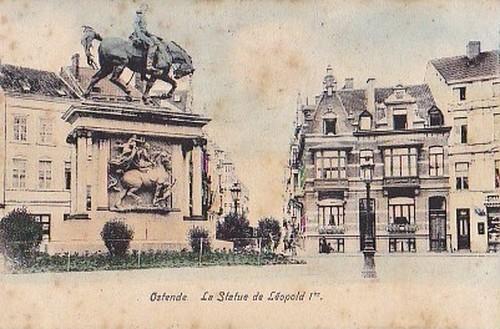 古絵葉書エンタイア「レオポルト1世像/オーステンデ」(1900年代初頭)