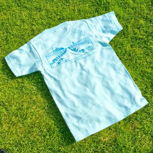 ONJUKU BEACH バックデザインTシャツ アクアブルー