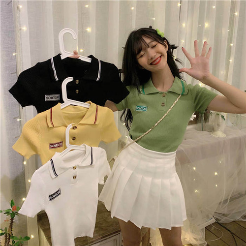 【送料無料】 レトロなポロシャツ風♡ スポーティ半袖 カジュアル スポーツ トップス 4color