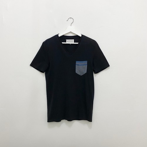MAISON MARTIN MARGIELA 10 silk pocket Vneck tee black
