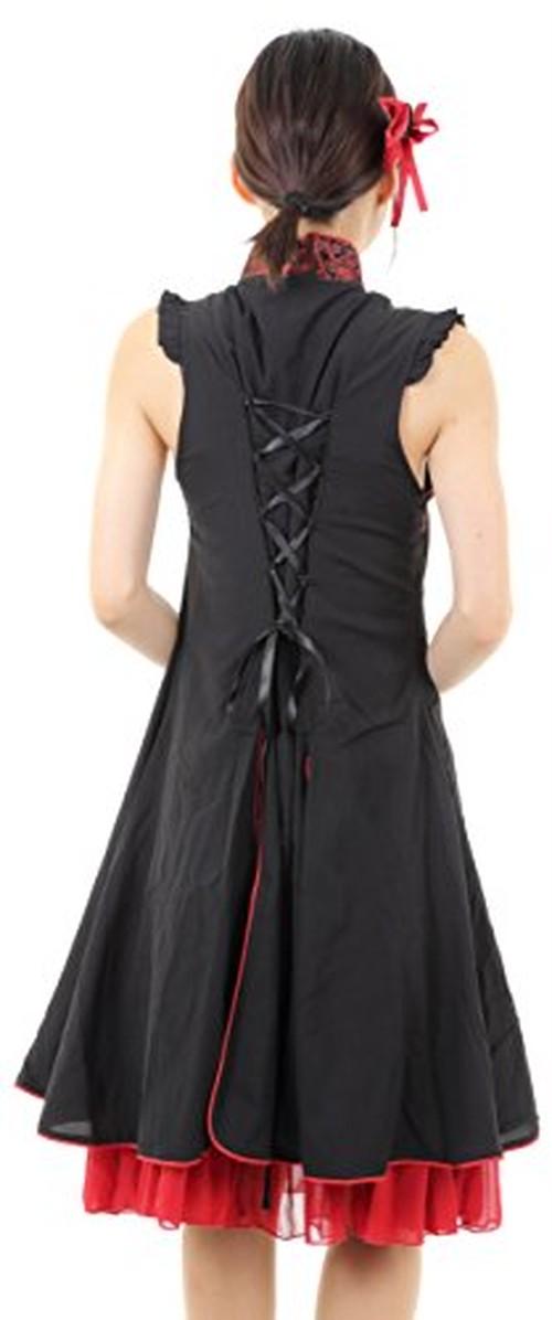 08ab42d4e9737 おしゃれ な 刺繍 入り リボン の 装飾 の ついた クラシカル な 雰囲気 の チャイナ 風 ワンピース ドレス です 。 袖 の 無い ドレス  なので 寒い 季節 に 最適 な ...