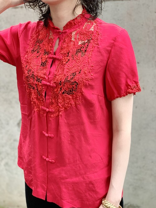 Vintage Red Silk Chinese Embroidered Cutwork Blouse