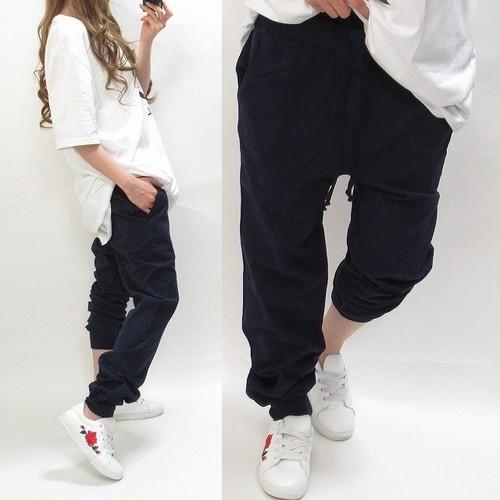 裾リブ切替 カジュアル エスニック 綿麻 ジョガーパンツ ネイビー