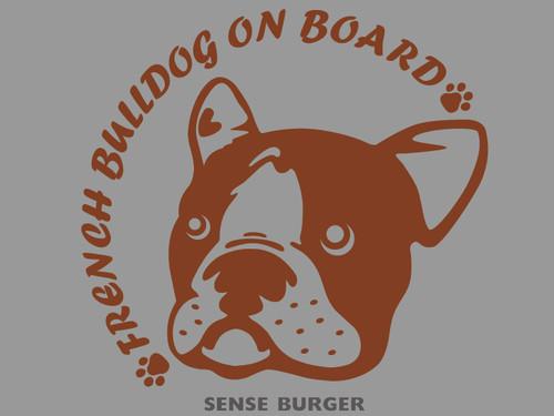 french on board french bulldog フレンチブルドッグ 犬 DOG IN CAR french bulldog in car 車に貼り付け シール ステッカー デカール ハニーパイド パイド 給油口 リアガラス ブラウン 茶色【sti08111bro】