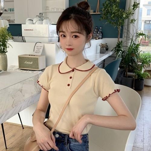 【トップス】レトロ春夏スウィート韓国風ボタン付き配色カジュアル折り襟半袖Tシャツ