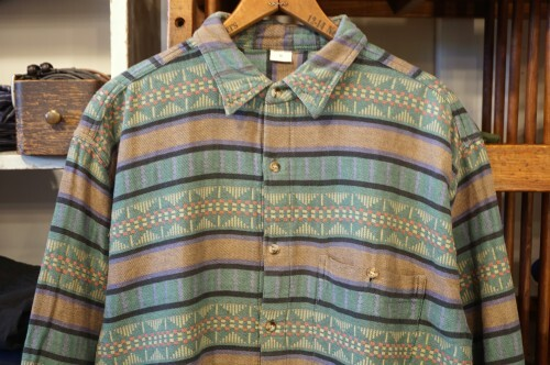 80's unknown green traditional woven Shirt