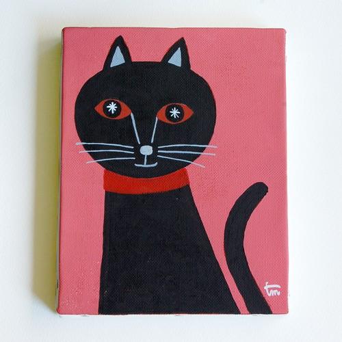 オリジナルアクリル画「黒猫2」