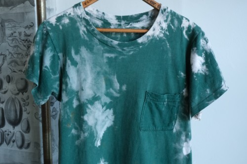 70's green tie dyed T-shirt w/pocket