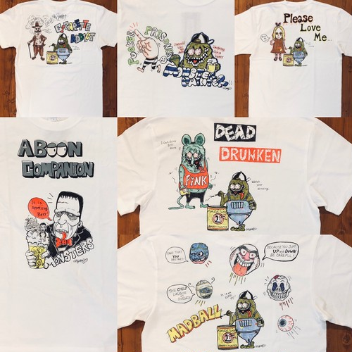 【actgoofy 】HAND PRINT&手描きMONSTERS T-SHIRTS