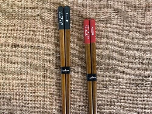 日本製木箸 「おとぼけ猫の箸 」食洗器対応 ポストIN発送対応商品