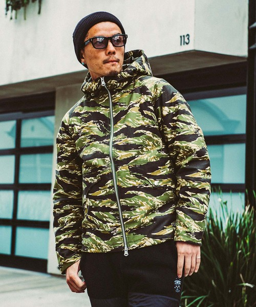 CRIMIE(クライミー) / CR01-01K5-JK27 / BACK SATAIN THINSULATE CAMO ZIP HOOD JACKET