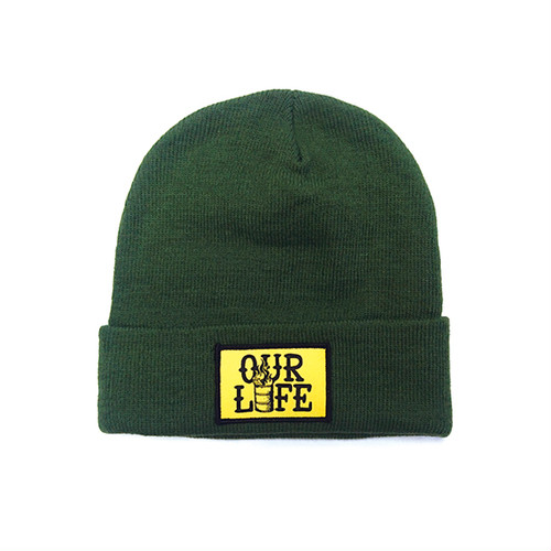 OUR LIFE - STACKED BARREL PATCH BEANIE (Forest Green)