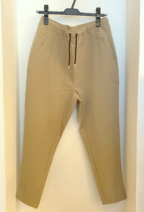 Stretch Nylon Ankle Tapered Pants Beige