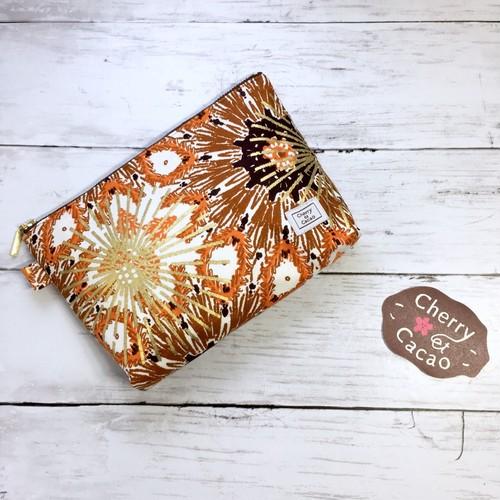 ポーチ アフリカンテキスタイル(日本縫製)花火 ブラウン  アフリカ エスニック ガーナ布