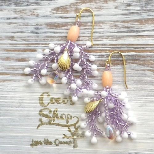 Coralreef motif Pierce -Purple&Shell-