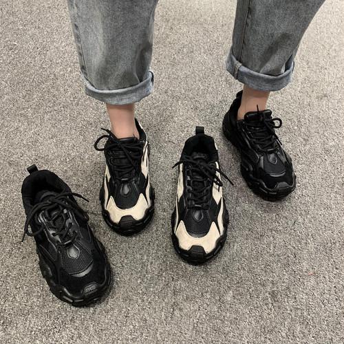 レディース スニーカー ダッドスニーカー 厚底 レースアップ ローカット 軽量 歩きやすい ハイテクスニーカー 黒 ブラック ベージュ 履きやすい 歩きやすい 通勤 通学 学生 韓国 liuweiyong2760564