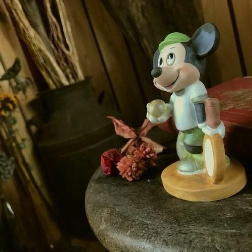 ≫レア希少80'sヴィンテージ*Disneyディズニープロダクションズ*古い陶器ミッキーマウスフィギュア人形ドール*東京ディズニーランド絶版