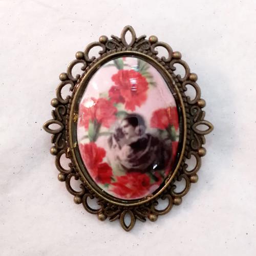FE-Brc_VintageRosa ブローチ アンティーク絵画柄・ピンク系  スペイン製