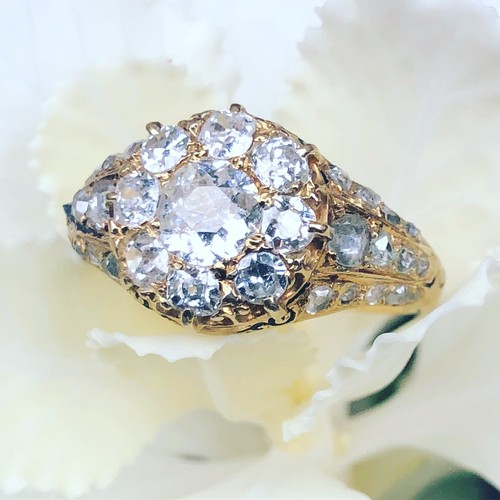 French Diamond Cluster Ring
