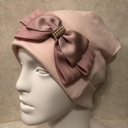 インターストライプリボンのケア帽子 ピンク