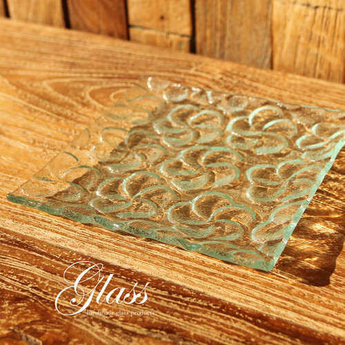 ■当日出荷■ハンドメイドガラスのお皿 スクエアプレートフラワー GL12 ディナープレート アソート ガラス ディッシュ