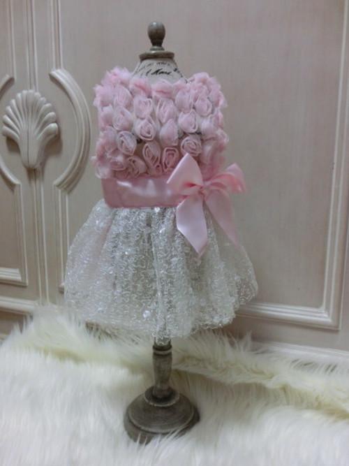 ★かわいい犬服ワンピ/ドレス  プリンセスローズリボンドレス