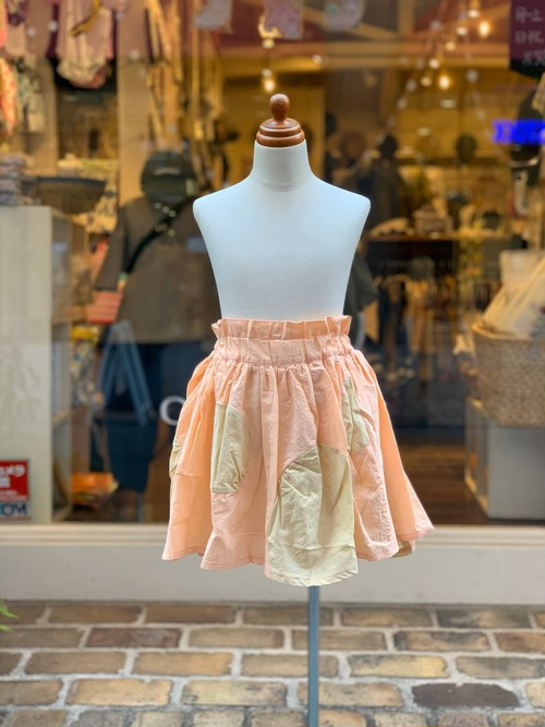KIDS:frankygrow【フランキーグロウ】SWITCHING DOTS  SKIRT DYED :PINK/BG(S/90,M/110,L/130cm)スカート